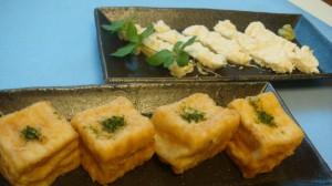 手前がマスコミにも取り上げられた「揚げ出し豆腐」(220円)、奥が「生湯葉」